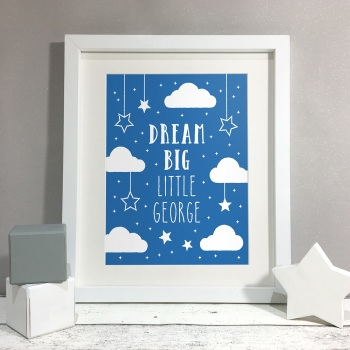 Dream Big Nursery Kids Room Personalised Print