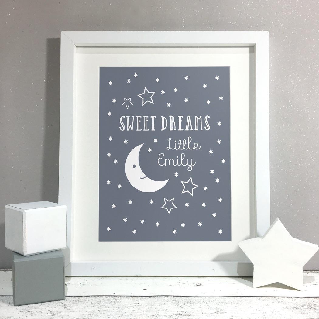 Sweet Dreams Nursery Kids Room Personalised Print