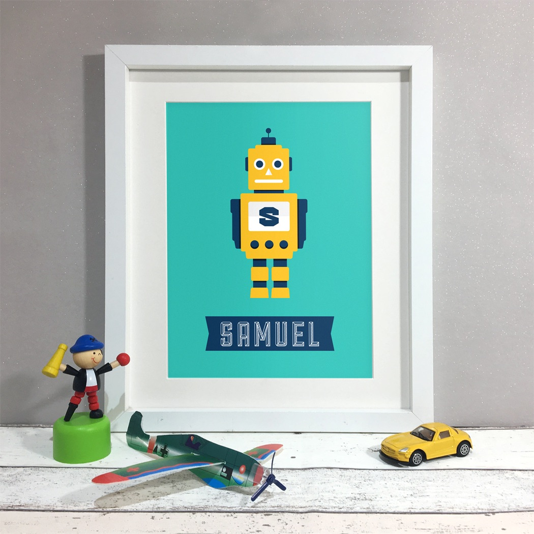 Robot Kids Room Personalised Print