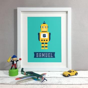Robot Kids Room Personalised Print