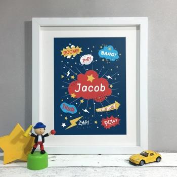 Comic Sounds Kids Room Personalised Print