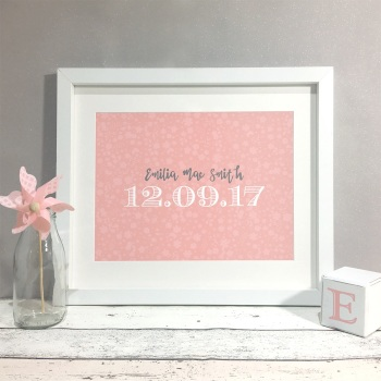 Dainty Floral Nursery Kids Room Personalised Print