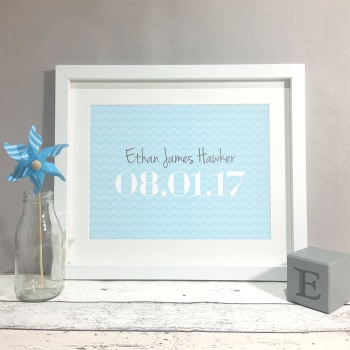 Chevron Nursery Kids Room Personalised Print