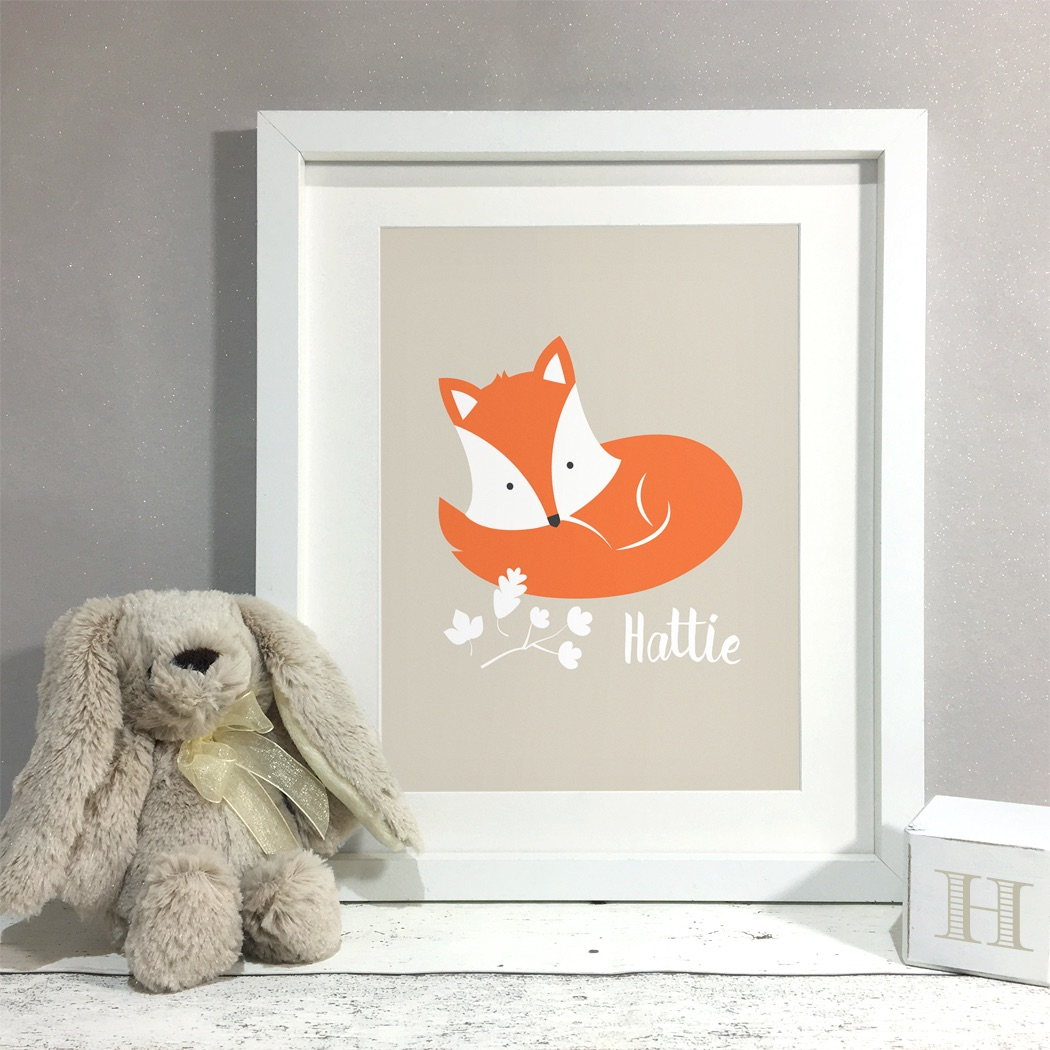 Fox Nursery Kids Room Personalised Print