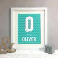 Chevron Letter Kids Room Personalised Print