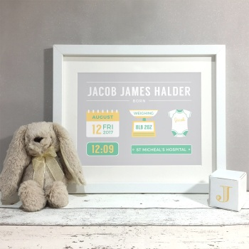 Baby Stats Nursery Kids Room Personalised Print