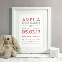 Bright Type New Baby Nursery Personalised Print