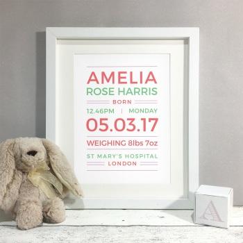 Bright Type New Baby Nursery Personalised Print