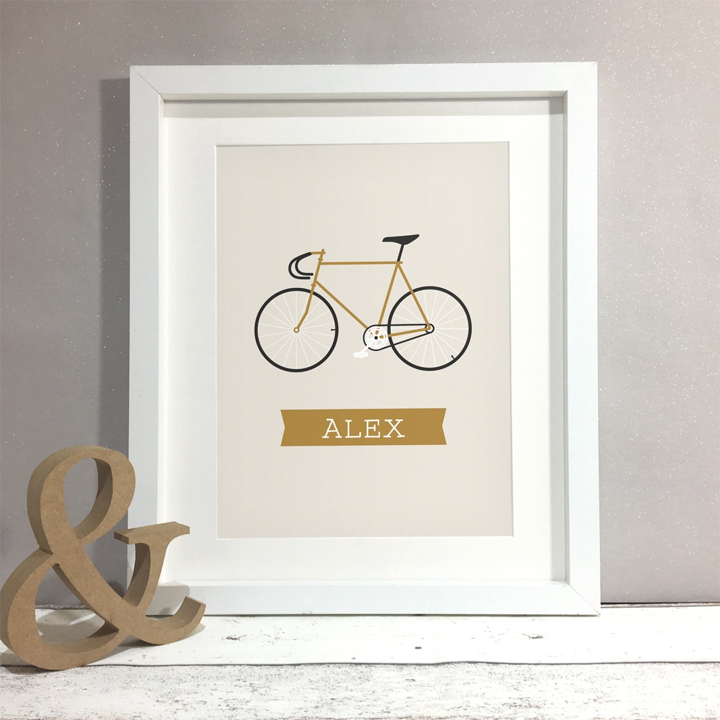 Fixie Bike Personalised Print