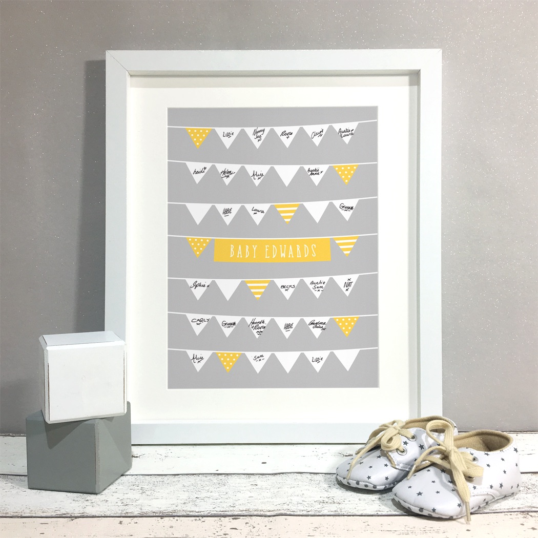 Bunting Personalised Baby Shower Guest Book Print Alternative