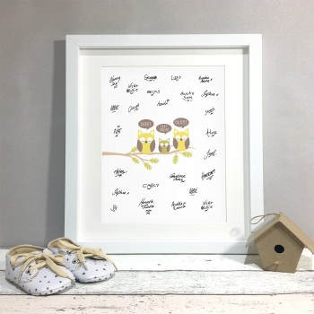 Owl Family Personalised Baby Shower Guest Book Print Alternative
