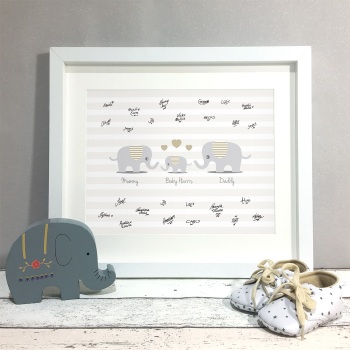 Elephant Family Personalised Baby Shower Guest Book Print Alternative