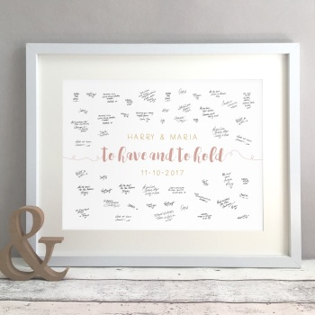 To Have and To Hold Personalised Wedding Guest Book Print Alternative