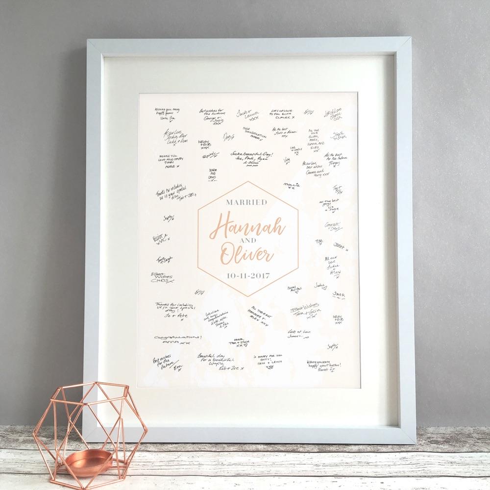 Geometric Marble Personalised Wedding Guest Book Print Alternative