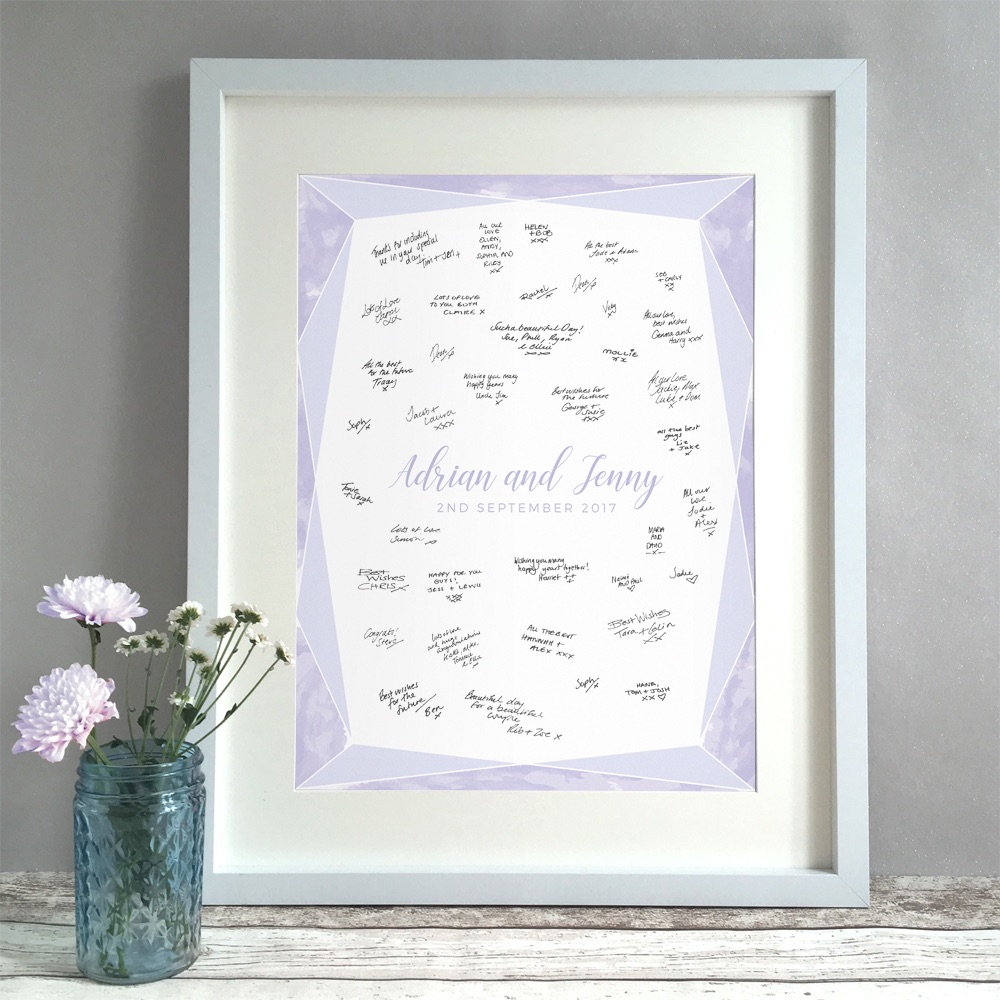 WATERCOLOUR GEM Personalised Wedding Guest Book Print Alternative