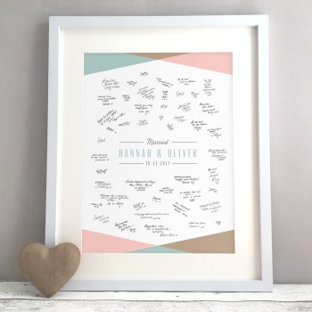 Geometric Triangles Personalised Wedding Guest Book Print Alternative