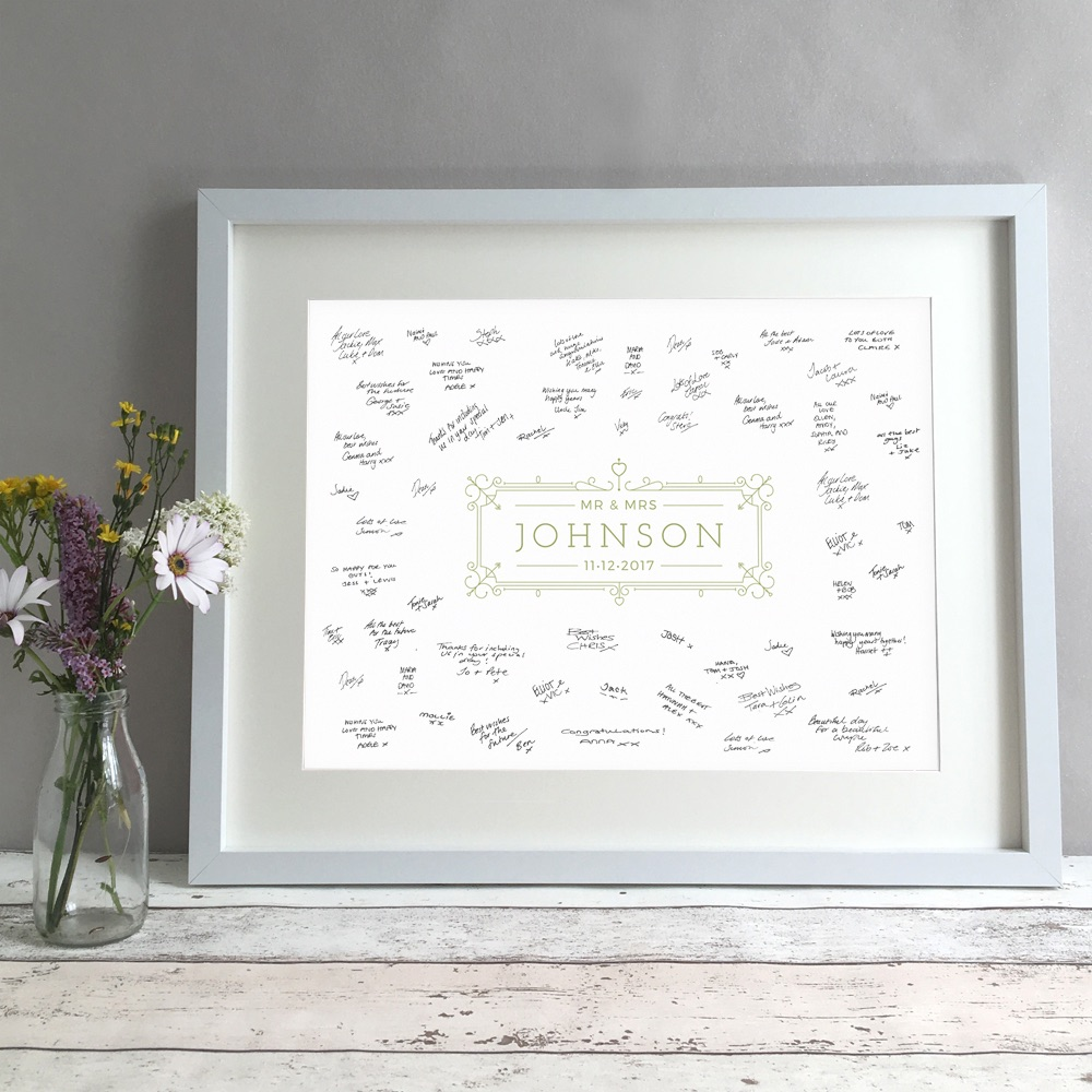Modern Ornate Personalised Wedding Guest Book Print Alternative