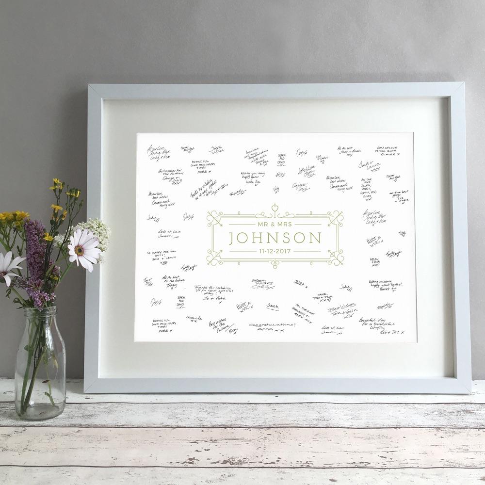 Modern Ornate Personalised Wedding Guest Book Print Alternative