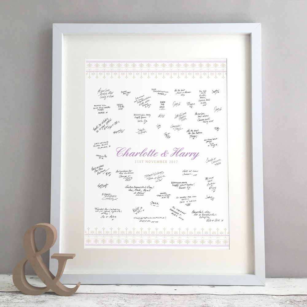 Elegant Lace Personalised Wedding Guest Book Print Alternative