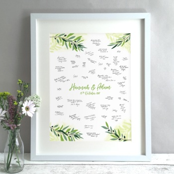 Olive Greenery Personalised Wedding Guest Book Print Alternative