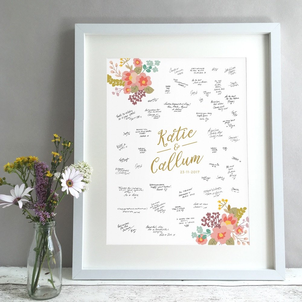 Floral Bouquet Personalised Wedding Guest Book Print Alternative