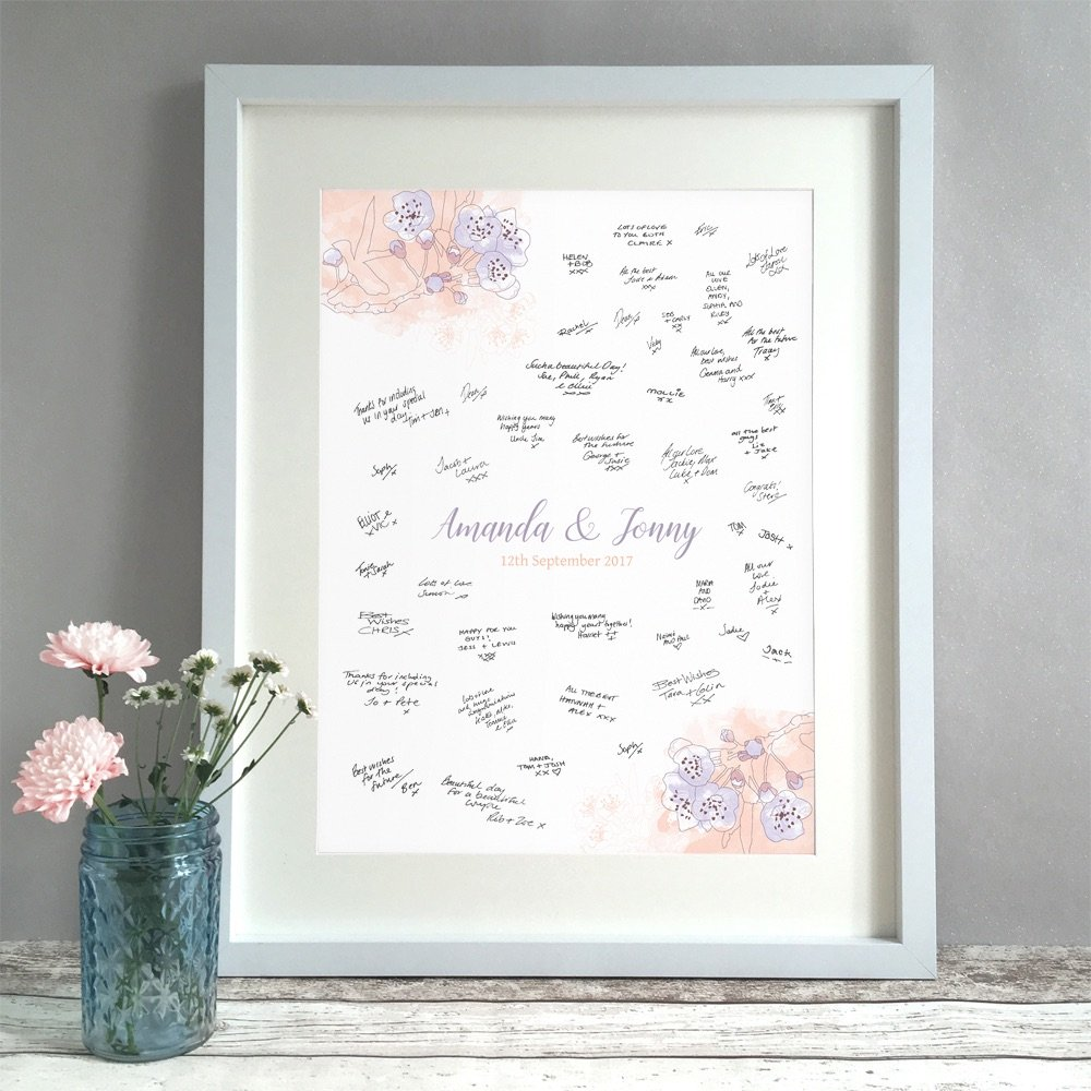 Watercolour Blossom Personalised Wedding Guest Book Print Alternative