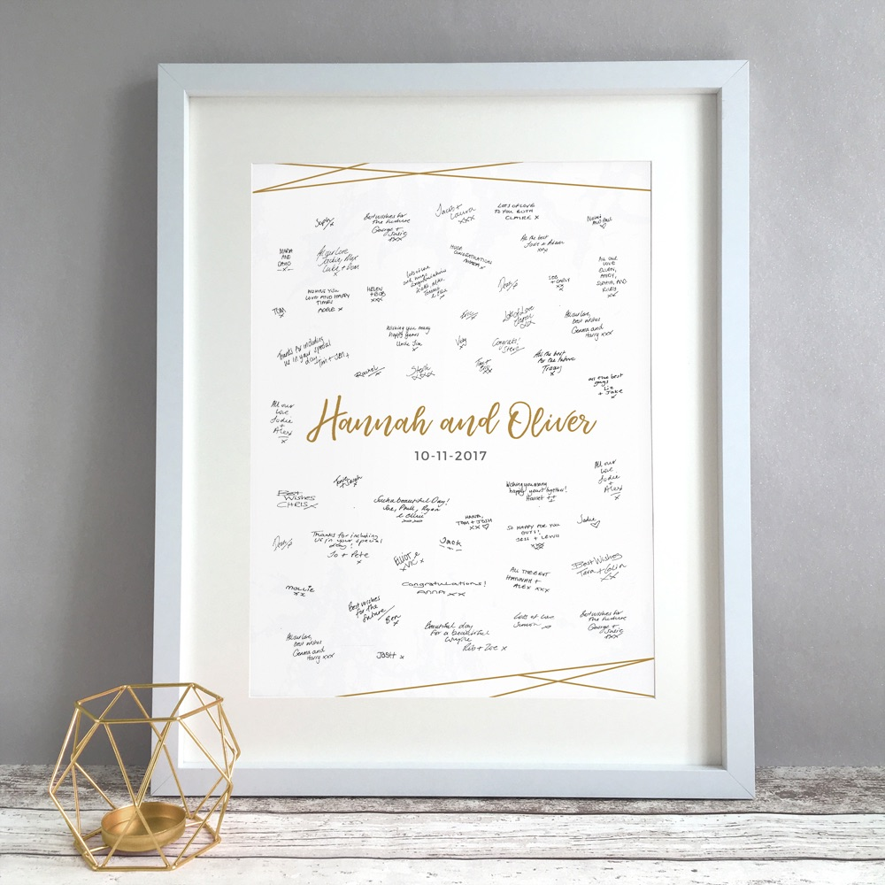 Minimal Marble Personalised Wedding Guest Book Print Alternative