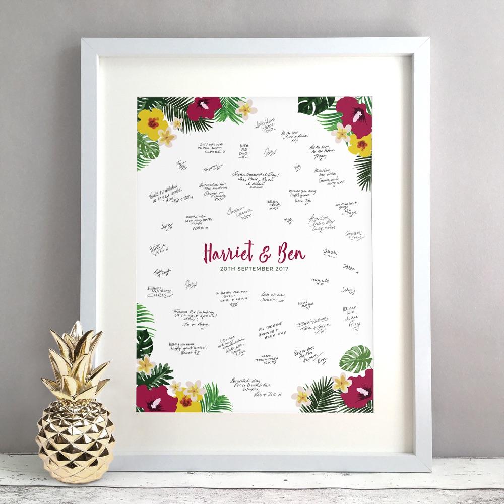 Tropical Personalised Wedding Guest Book Print Alternative