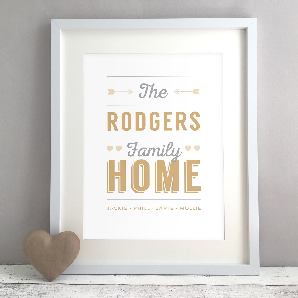 Retro Family Home Personalised Print