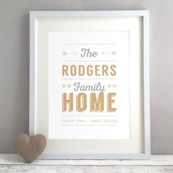 Retro Family Home Personalised Print