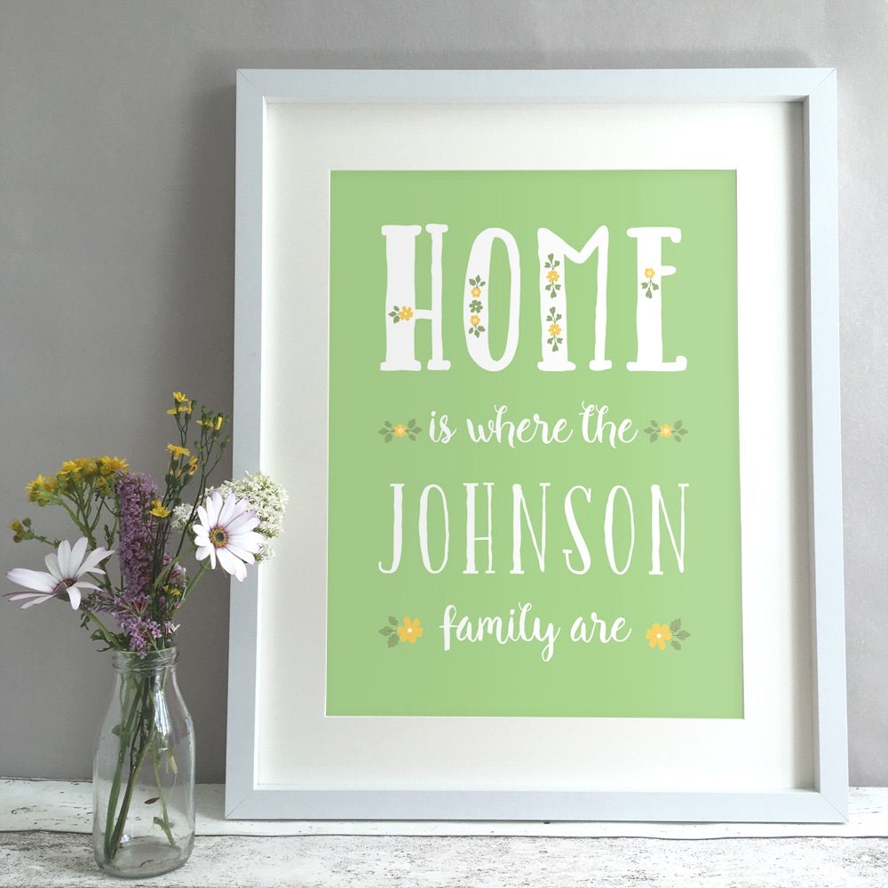 Floral Home Family Personalised Print