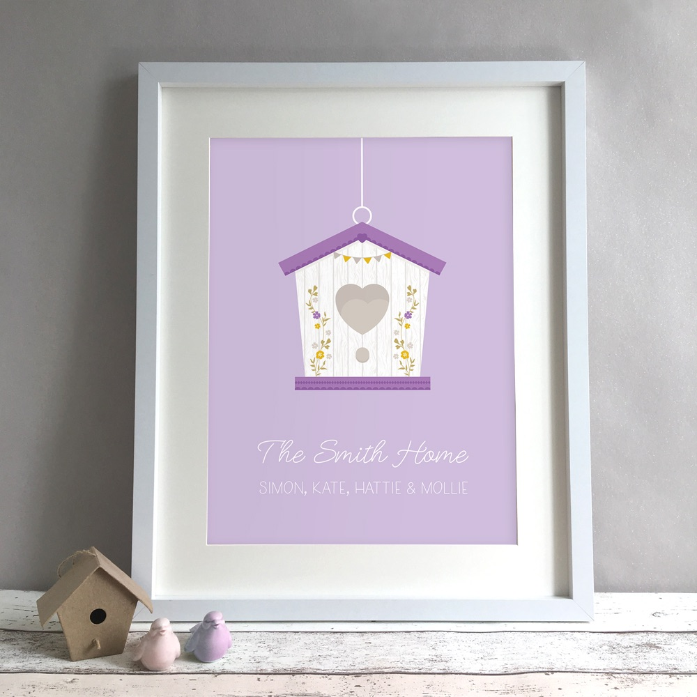 Bird House Family Personalised Print