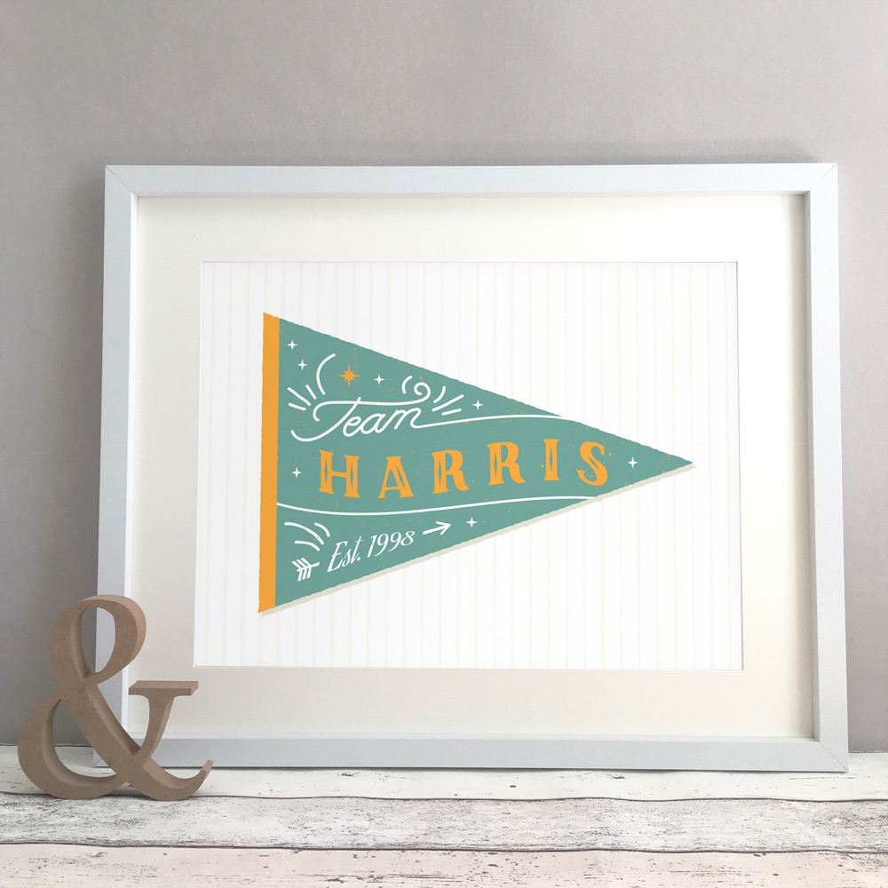 Family Team Pennant Home Personalised Print