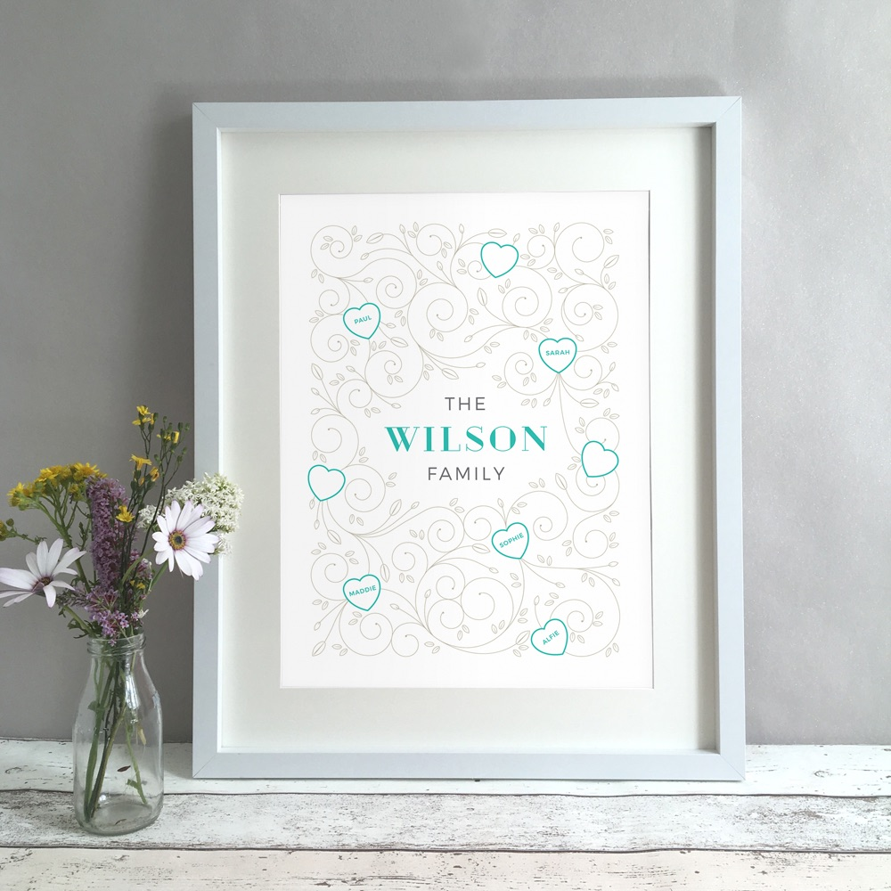 Family Swirls Names Personalised Print