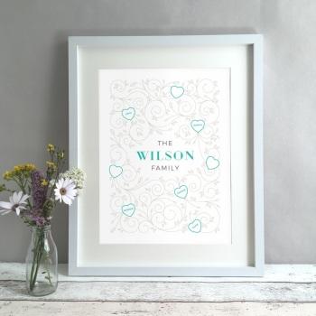 Family Swirls Names Personalised Print