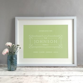 Ornate Family Name Personalised Print
