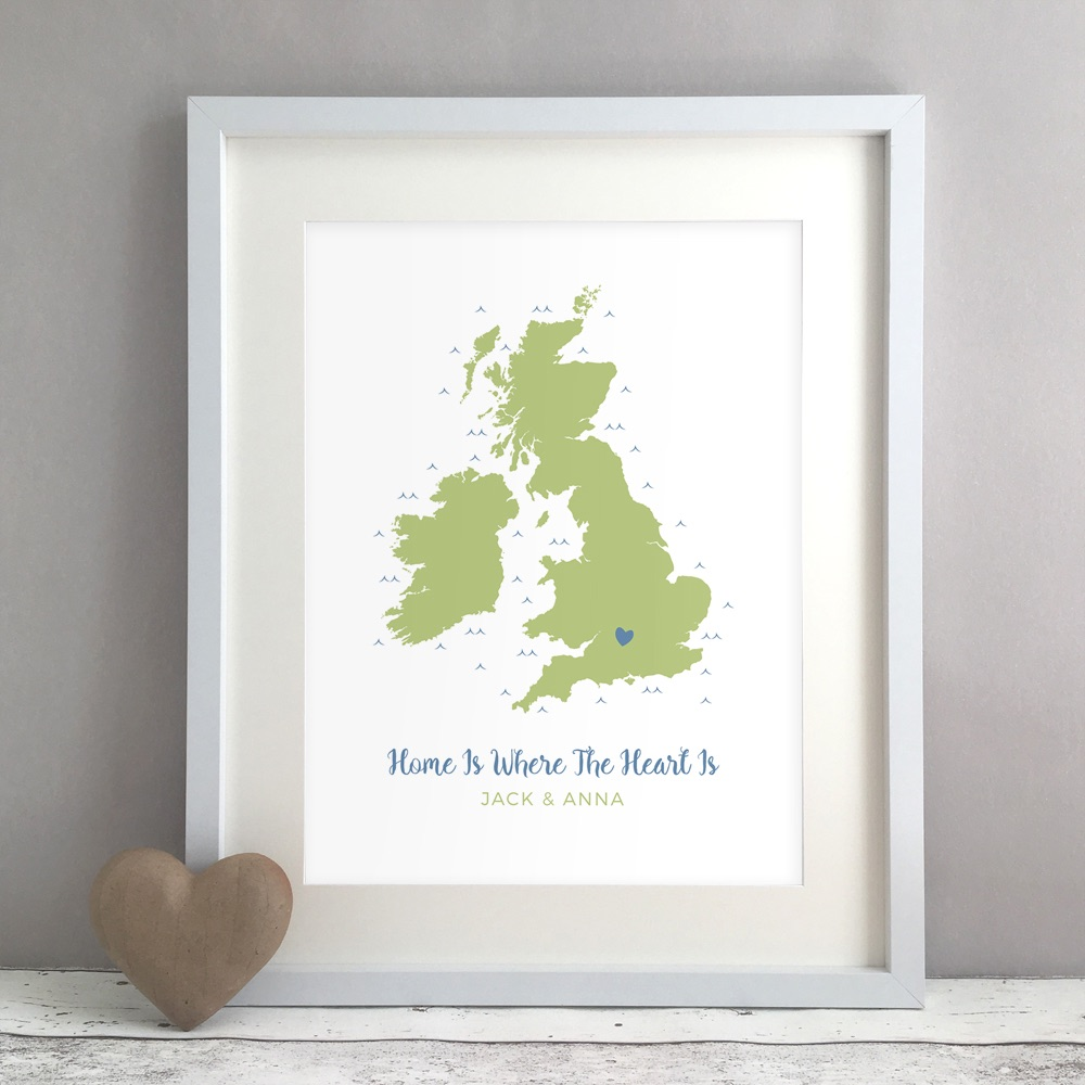 Home Is Where The Heart Is Family Map Personalised Print