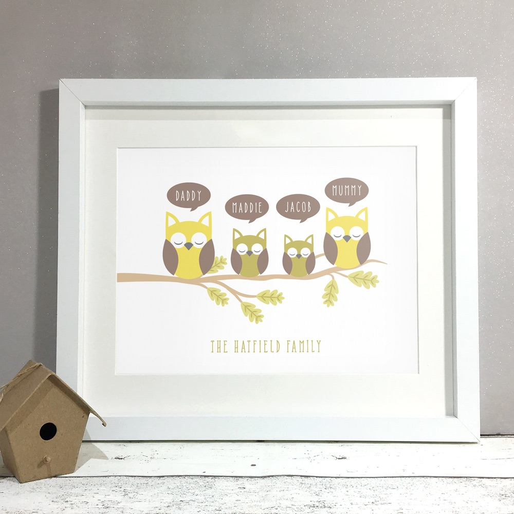 Owl Family Home Personalised Print