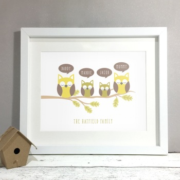 Owl Family Personalised Print