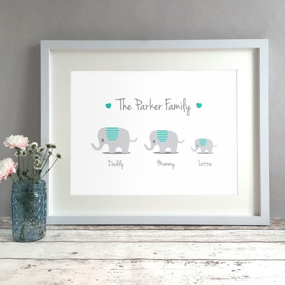 Elephant Family Home Personalised Print
