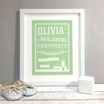 Paper Cut Style Christening Gift Personalised Print