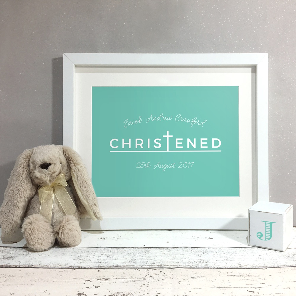 Christened Personalised Print Christening Gift