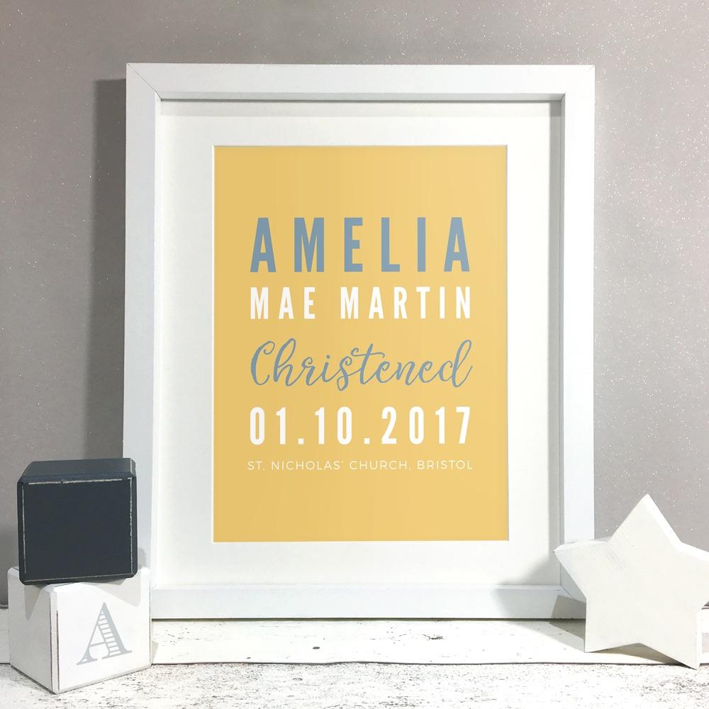 Christening Details Personalised Print Christening Gift