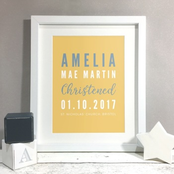 Christening Details Personalised Print Christening Gift