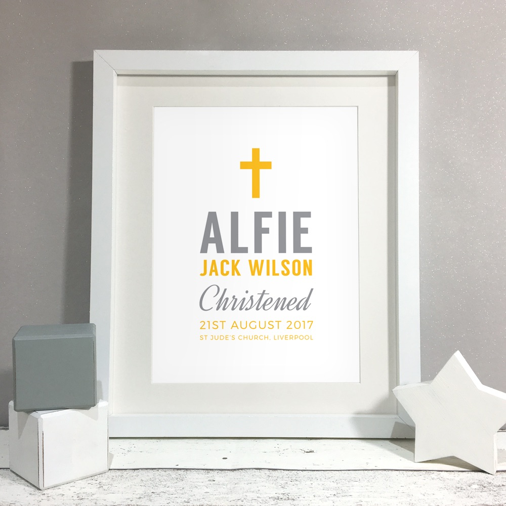 Cross Personalised Christening Gift Print