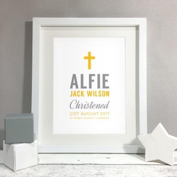 Cross Personalised Christening Gift Print