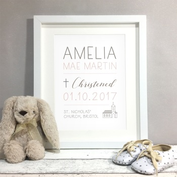Church Christening Gift Personalised Print