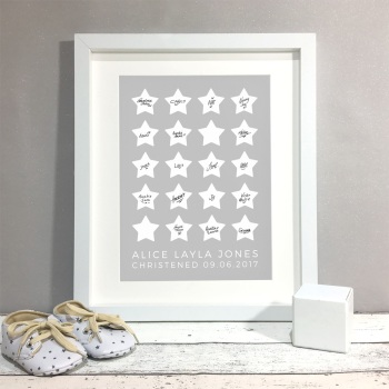 Stars Personalised Christening Guest Book Print Alternative