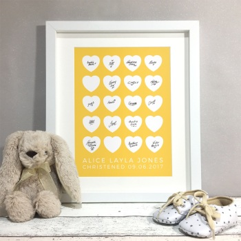 Hearts Personalised Christening Guest Book Print Alternative