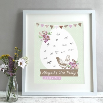 Vintage Hen Party Personalised Guest Book Print Alternative